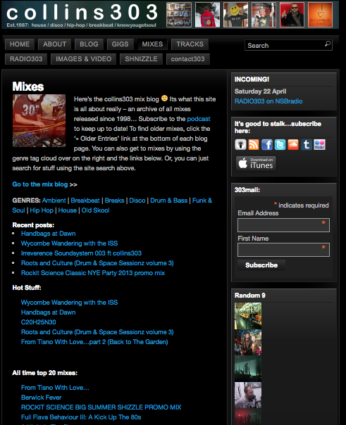 screenshot of original colllins303.com mixes page before the rebuild