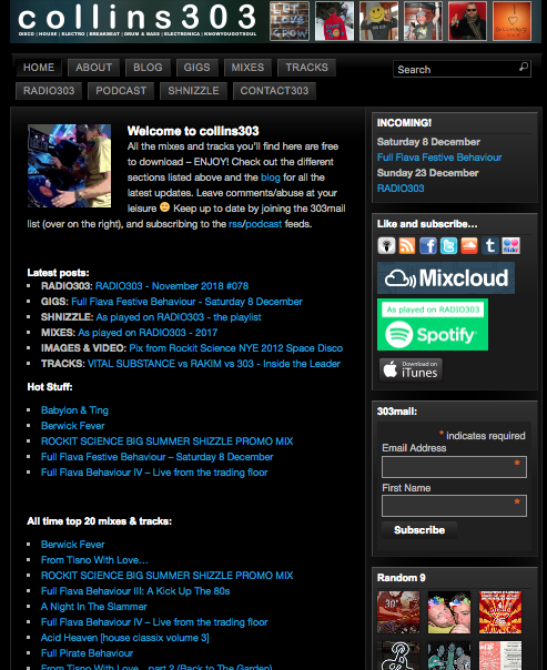screenshot of original colllins303.com homepage before the rebuild