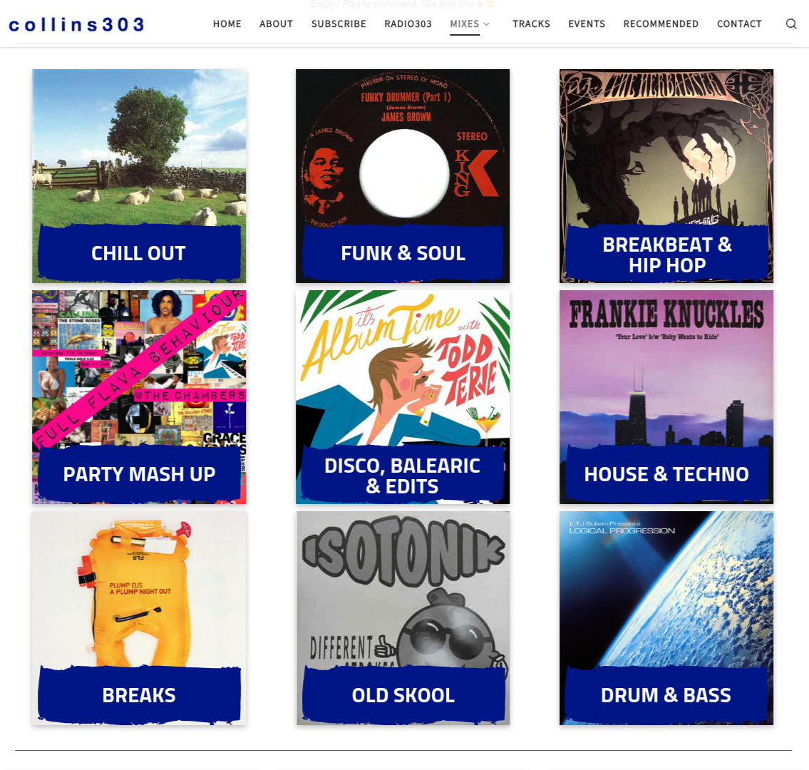 new genre buttons for collins303.com mixes page
